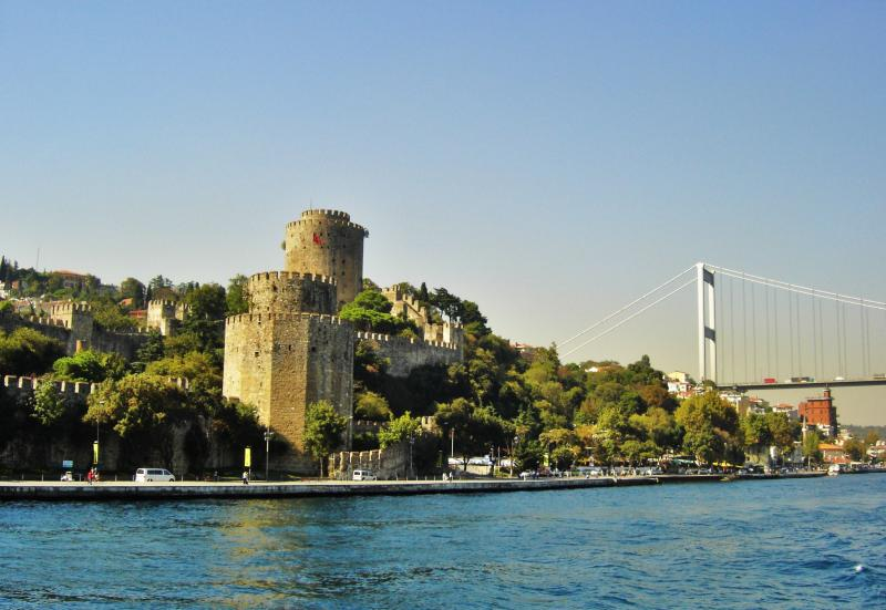 Rumelian fortress and Bosphorus bridge view from boat